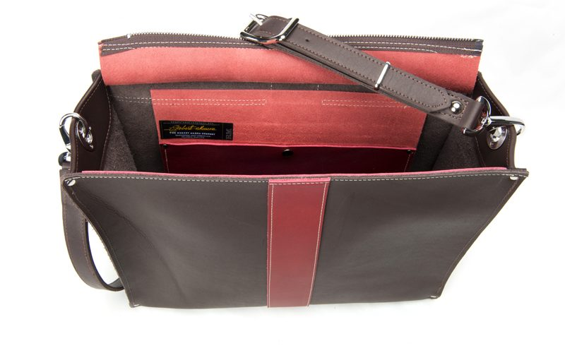 Almeda Handcrafted Leather Bag Robert Mason Signature side and interior