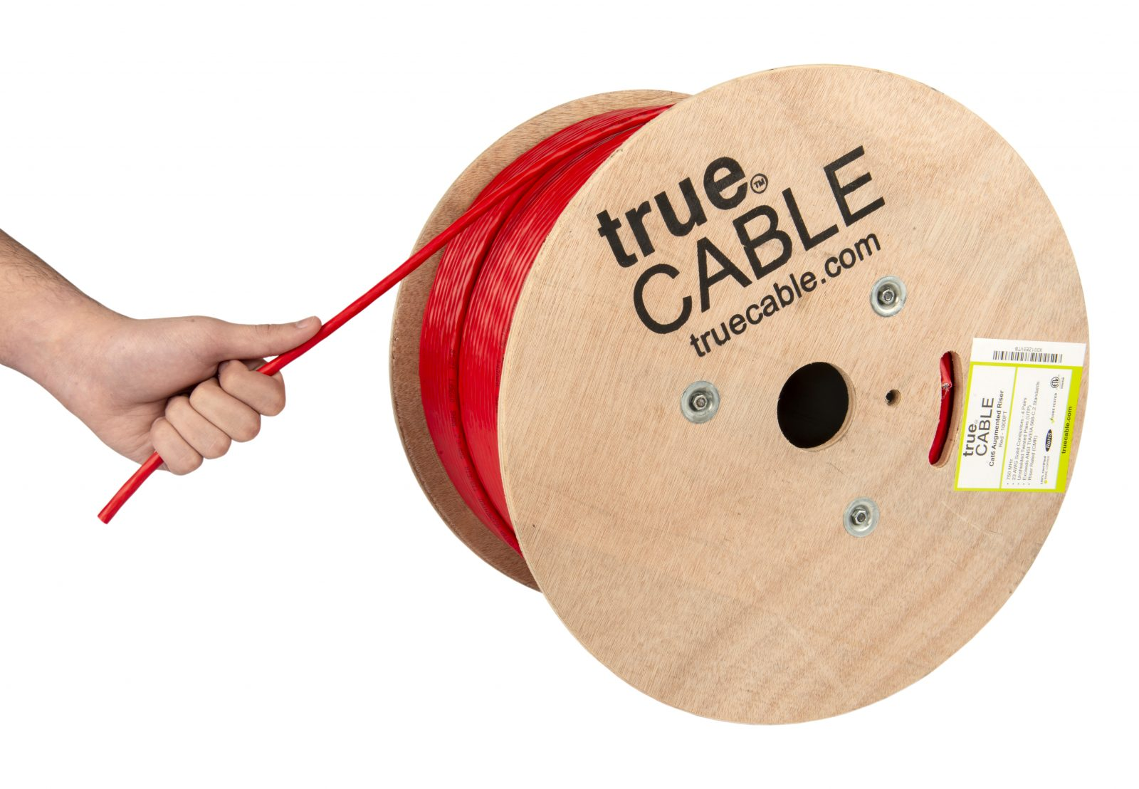 True Cable red cable reel being pulled photographed by Robintek Photography