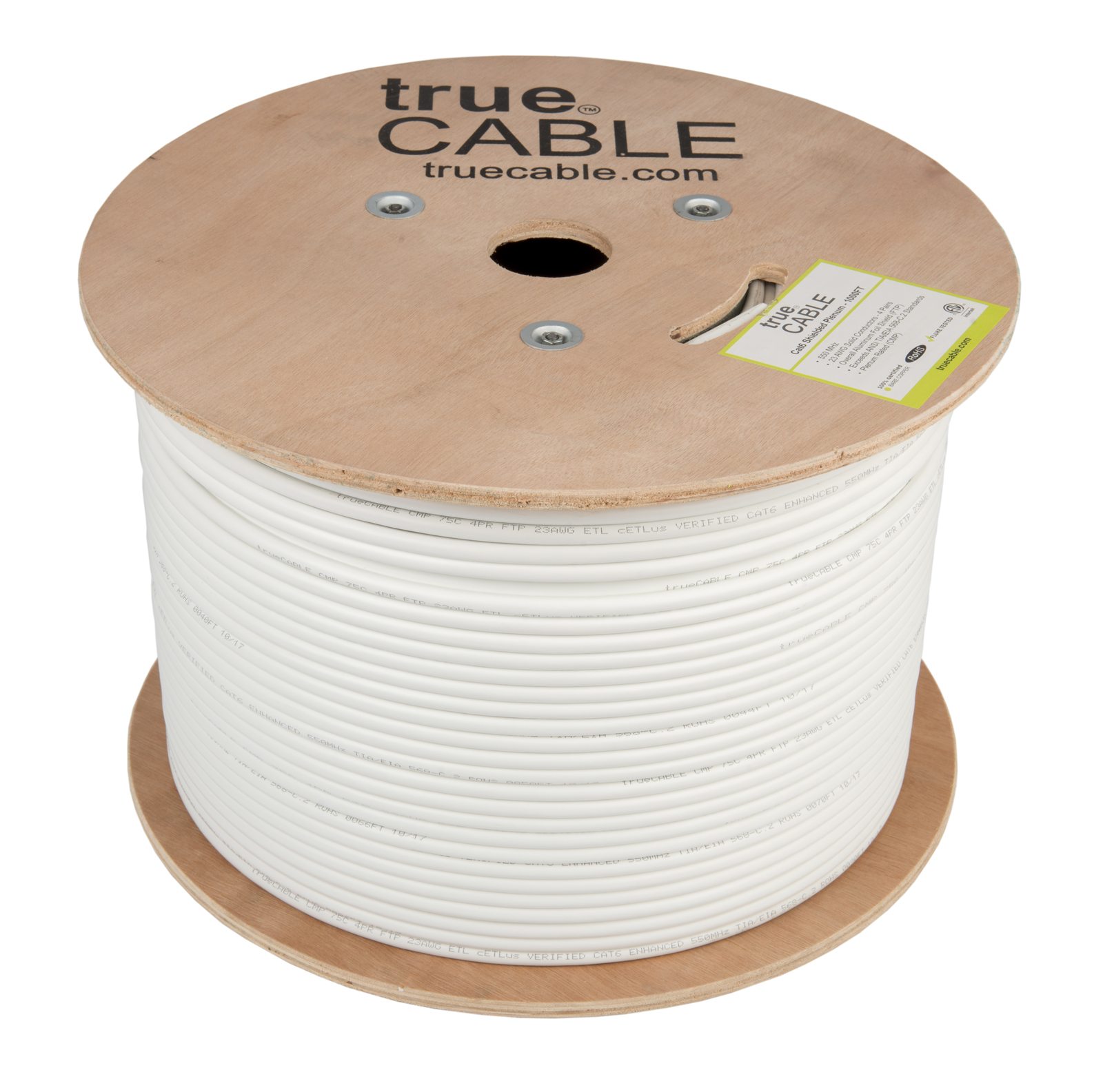 True Cable white cable reel photographed by Robintek Photography