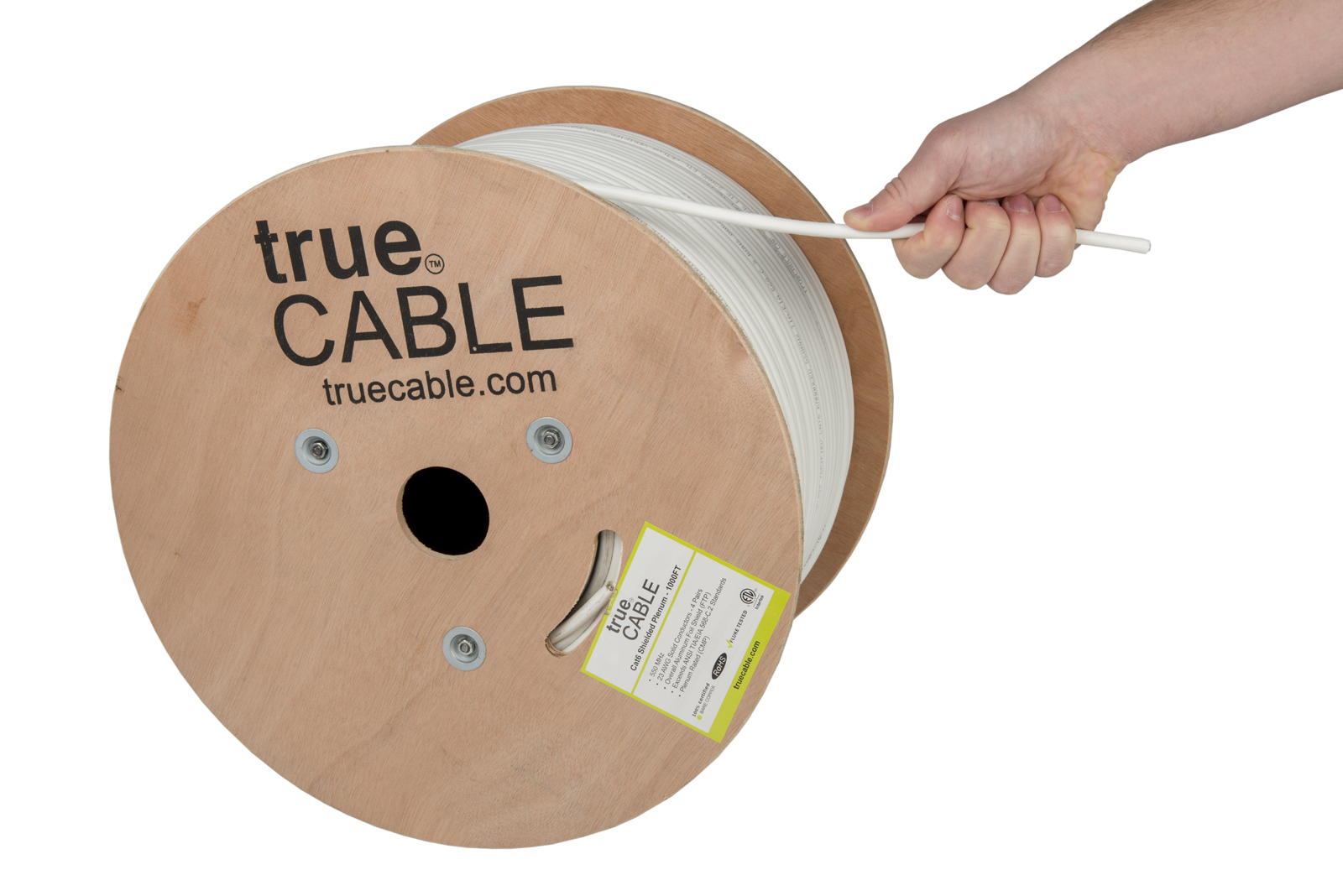 True Cable white cable reel being pulled photographed by Robintek Photography