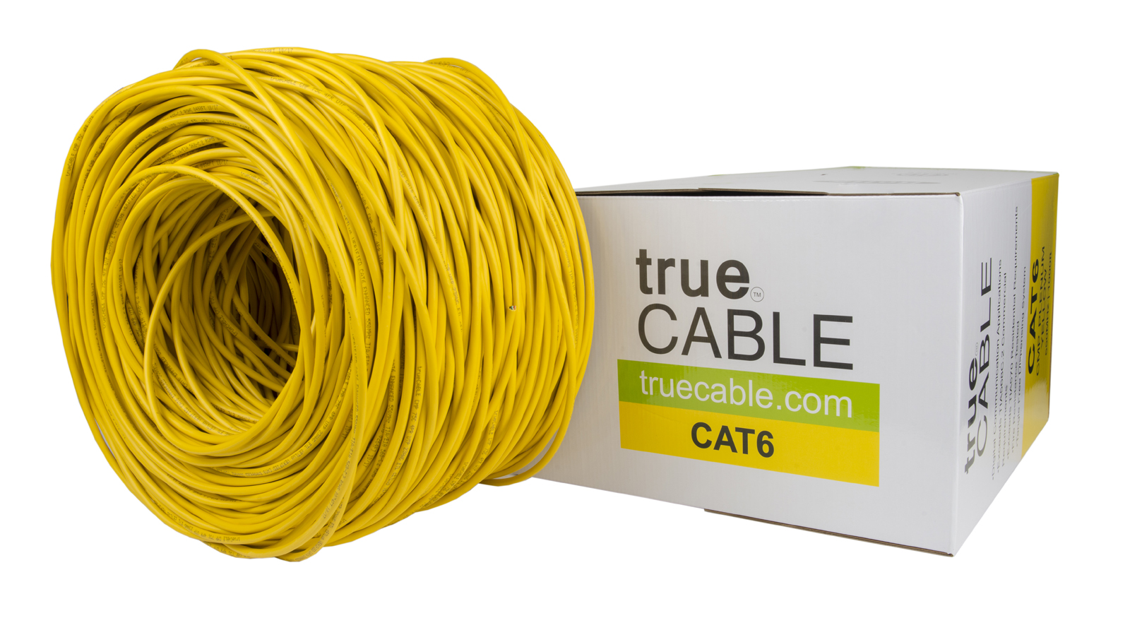 True Cable yellow CAT6 cable and box photographed by Robintek Photography