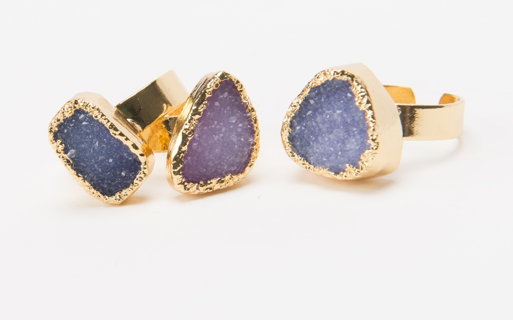 Product Photography - Jewelry purple blue geode rings
