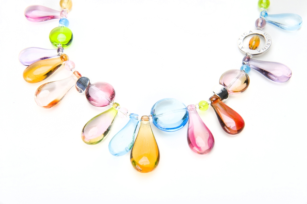 Columbus Ohio Product Photography - Jewelry multicolored blown glass necklace