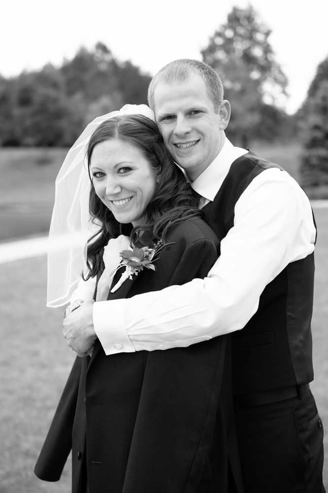 Wedding Photography - Outdoor Black and White Hug