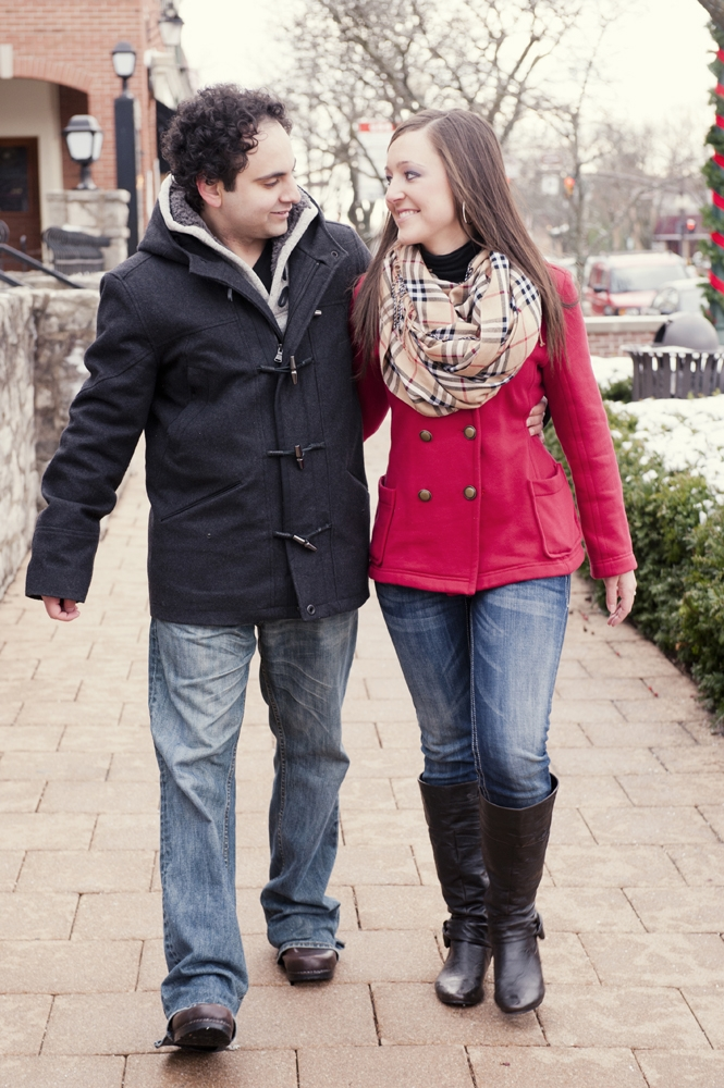 Engagement Photography - Winter couple walking together