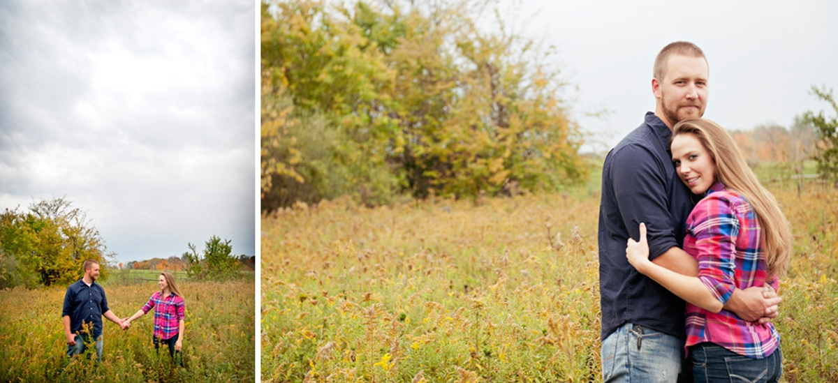 Engagement Photography - Fall couple embracing and holding hands in field