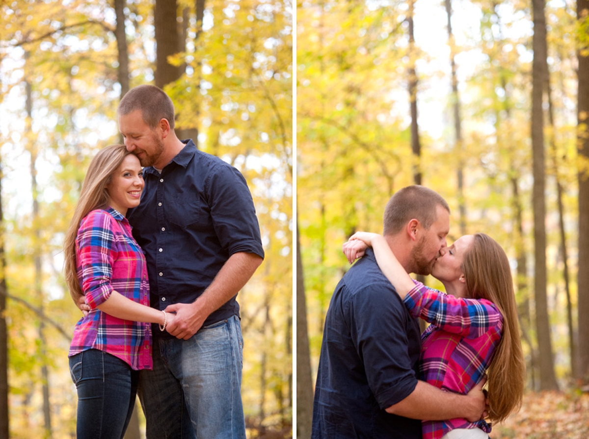 Engagement Photography - Couple hugging and kissing in Autumn woods